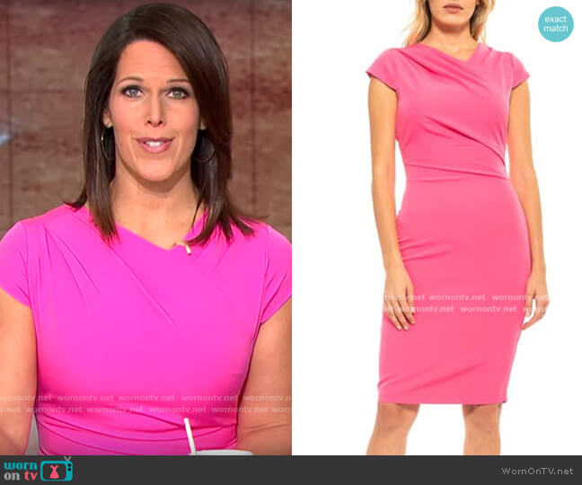 Alexia Admor Ester Pleated Neck Sheath Dress worn by Dana Jacobson  on CBS This Morning