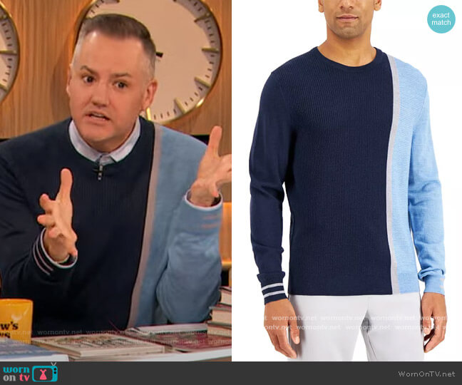 Striped Textured Crewneck Sweater by Alfani worn by Ross Mathews on The Drew Barrymore Show