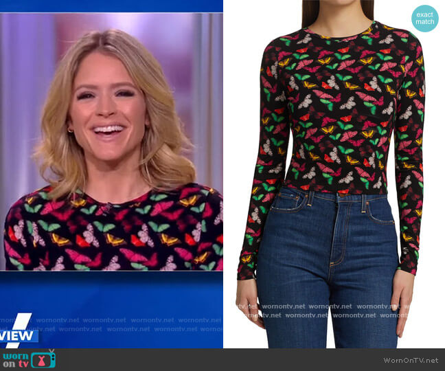 Delaina Butterfly Crop Top by Alice + Olivia worn by Sara Haines  on The View