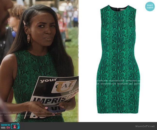 Delora snake-print stretch-jersey mini dress by Alice + Olivia worn by Rochelle (Raigan Harris) on Grown-ish