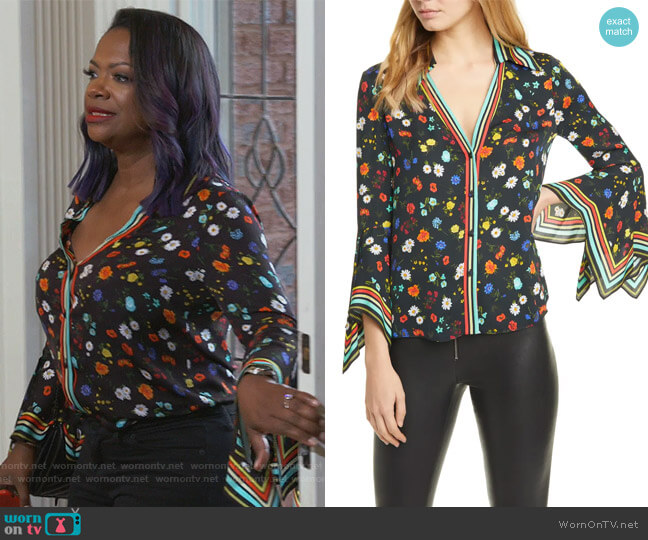 Randa Blouse by Alice + Olivia worn by Kandi Burruss  on The Real Housewives of Atlanta