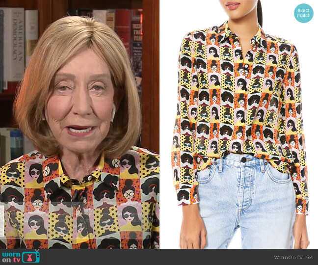 Willa Stace Face Silk Blouse by Alice + Olivia worn by Doris Kearns Goodwin on Today