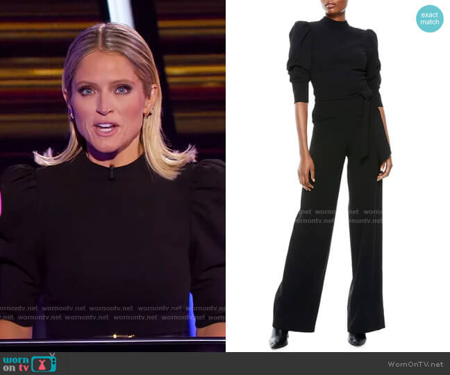 Alexis Puff-Sleeve Mockneck Jumpsuit by Alice + Olivia worn by Sara Haines  on The Chase
