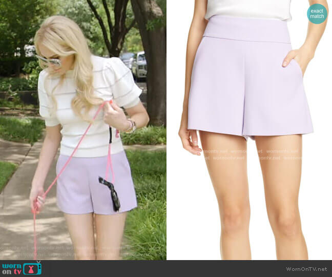 Donald High Waist Flared Shorts by Alice + Olivia worn by Kameron Westcott  on The Real Housewives of Dallas