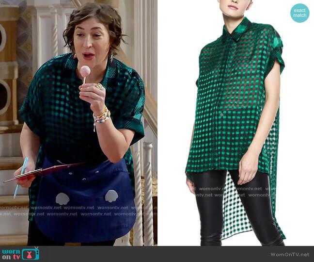 Alice + Olivia Edyth Sheer Gingham Blouse worn by Kat Silver (Mayim Bialik) on Call Me Kat