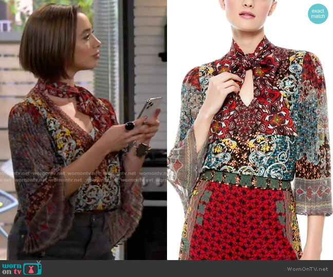 Alice + Olivia Elaina Top worn by Celia (Emma Caymares) on Call Your Mother