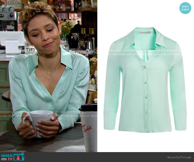 Alice + Olivia Hope Button Down Blouse worn by Elena Dawson (Brytni Sarpy) on The Young & the Restless