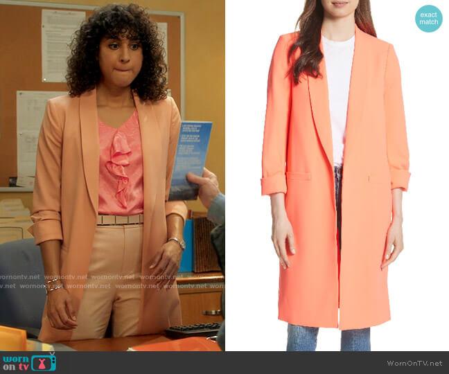 Alice + Olivia Kylie Shawl Collar Long Jacket worn by Mikaela Shaw (Vella Lovell) on Mr Mayor