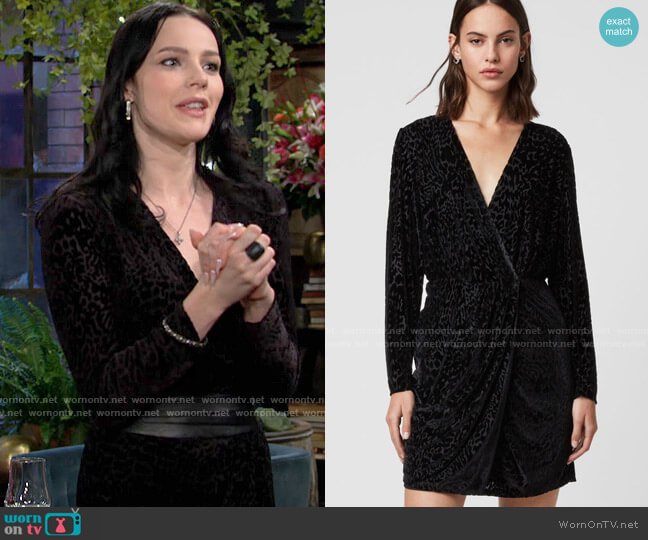 All Saints Laney Devore Dress worn by Tessa Porter (Cait Fairbanks) on The Young & the Restless