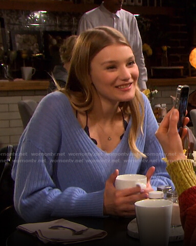 Alie's blue v-neck sweater on Days of our Lives