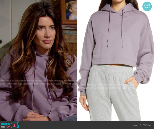 Alo Bae Hoodie in Lavender Smoke worn by Steffy Forrester (Jacqueline MacInnes Wood) on The Bold & the Beautiful