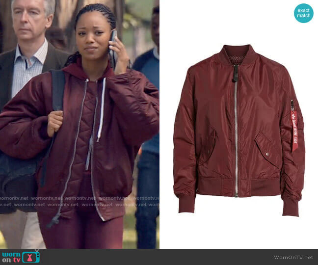 Alpha Industries MA-1 Bomber Jacket worn by Neveah Stroyer (Kylie Jefferson) on Tiny Pretty Things