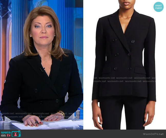 Indiana Double-Breasted Jacket by Altuzarra worn by Norah O'Donnell  on CBS Evening News