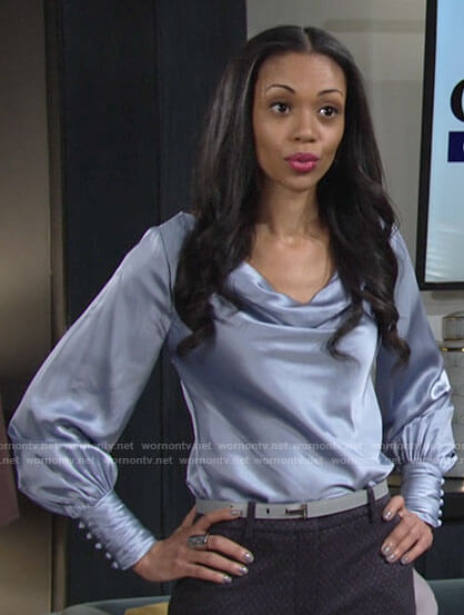 Amanda's blue satin cowl neck blouse on The Young and the Restless