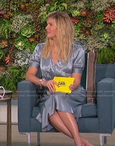 Amanda's blue v-neck satin dress on The Talk