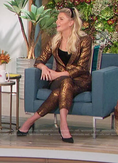 Amanda's gold jacquard paisley blazer and pants on The Talk