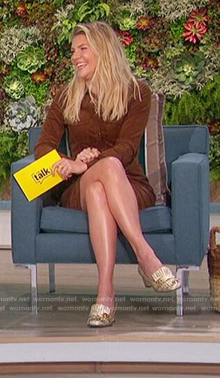 Amanda's brown velvet shirtdress on The Talk
