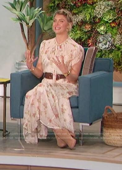 Amanda's white floral midi dress on The Talk