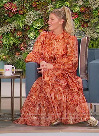 Amanda's orange floral print maxi dress on The Talk