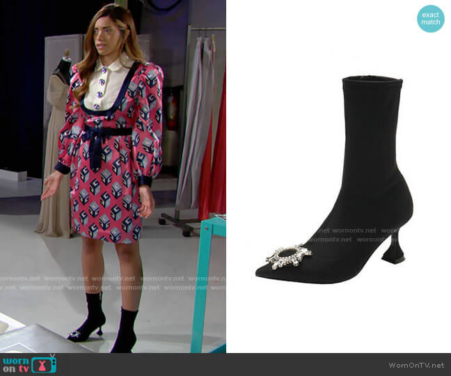 Amina Muaddi Begum Sock Booties worn by Zoe (Kiara Barnes) on The Bold & the Beautiful