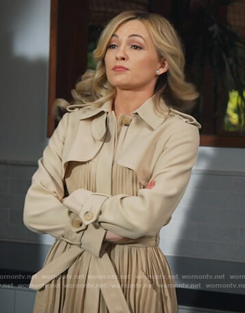 Amy's beige pleated trench coat on All Rise