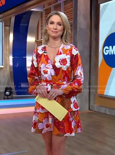 Amy's orange floral wrap dress on Good Morning America