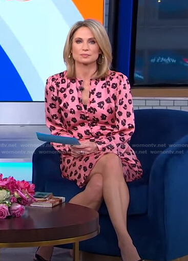 Amy's pink floral mini dress on Good Morning America