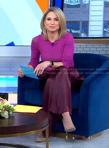 Amy's purple top and burgundy pants on Good Morning America