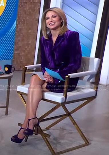Amy's purple velvet blazer dress on Good Morning America