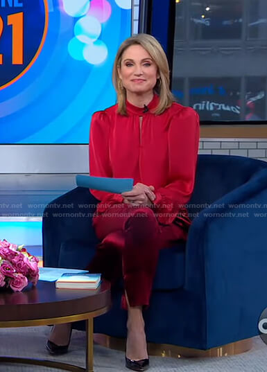 Amy's red keyhole blouse and velvet pants on Good Morning America
