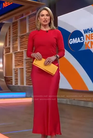 Amy's red sweater and satin skirt on Good Morning America