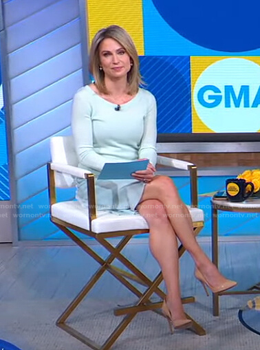 Amy's mint green sweater and skirt on Good Morning America