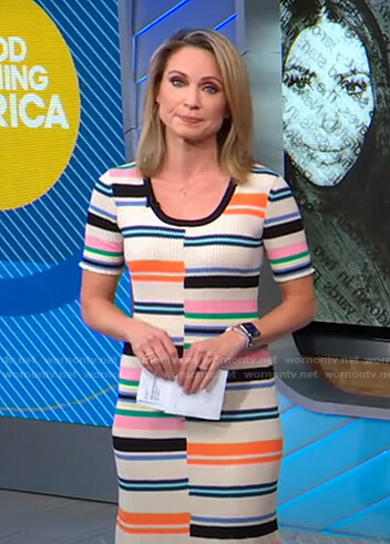 Amy's striped ribbed knit dress on Good Morning America