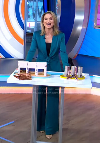 Amy's teal tie waist jacket and pants on Good Morning America