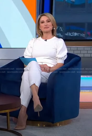 Amy's white puff sleeve sweater and belted pants on Good Morning America