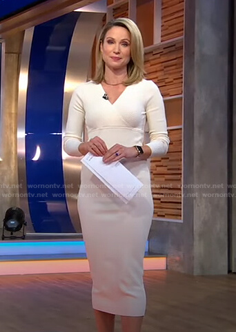 Amy's white ribbed knit dress on Good Morning America