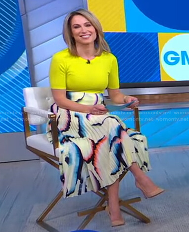 Amy's yellow top and abstract print skirt on Good Morning America