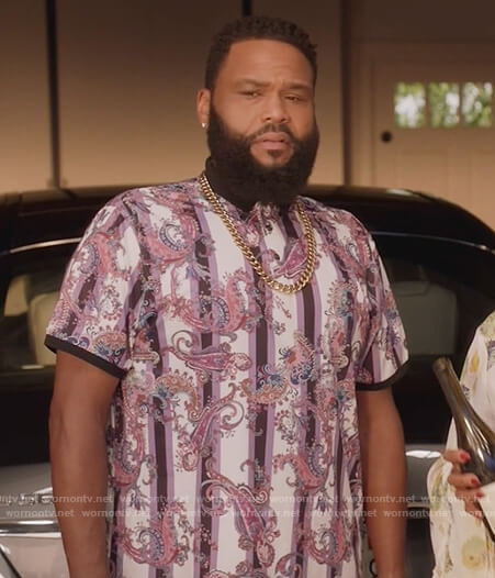 Andre's purple paisley stripe shirt on Black-ish