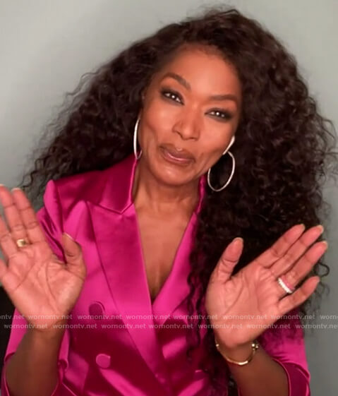 Angela Bassett's pink satin blazer on The Talk