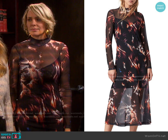 Hanna Flames Mesh A-Line Midi Dress by All Saints worn by Nicole Walker (Arianne Zucker) on Days of our Lives