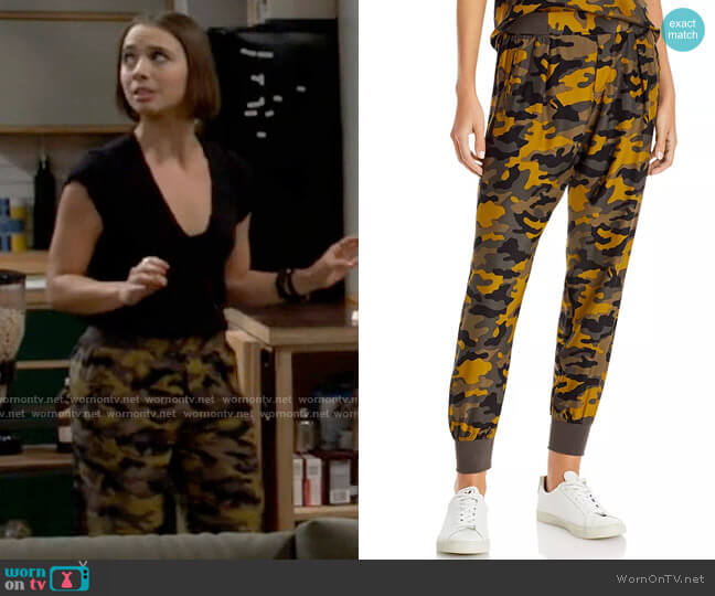 ATM Anthony Thomas Melillo Silk Camo Jogger Pants worn by Celia (Emma Caymares) on Call Your Mother