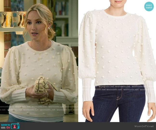 Aqua Puff-Sleeve Popcorn Cashmere Sweater worn by Mandy Baxter (Molly McCook) on Last Man Standing