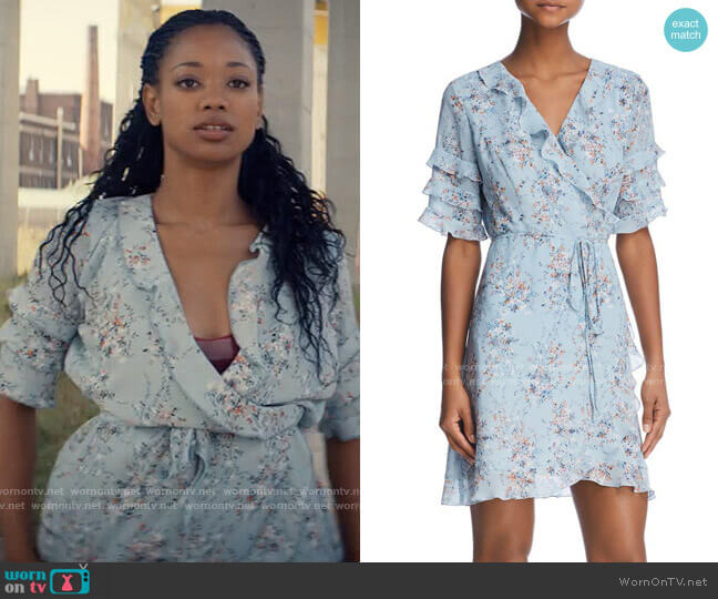 Aqua Ruffled Floral Print Wrap Dress worn by Neveah Stroyer (Kylie Jefferson) on Tiny Pretty Things