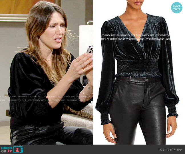 Aqua Smocked Velvet Cropped Top worn by Chloe Mitchell (Elizabeth Hendrickson) on The Young & the Restless