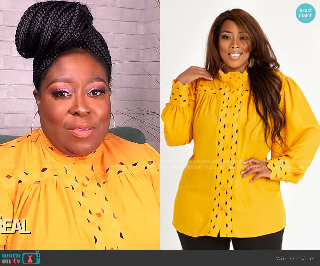 Scalloped Grosgrain Trim Button Up by Ashley Stewart worn by Loni Love  on The Real