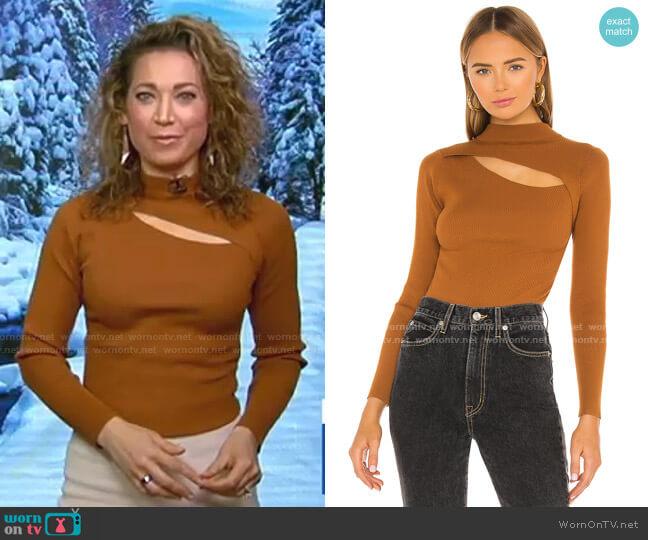 Sandra Mock Neck Bodysuit by ASTR the Label worn by Ginger Zee  on Good Morning America