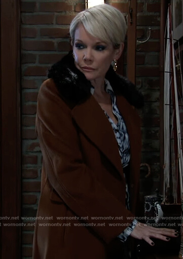 Ava's brown shearling collar coat on General Hospital