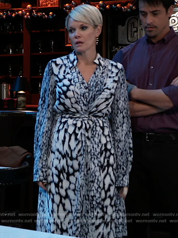 Ava's blue printed shirtdress on General Hospital