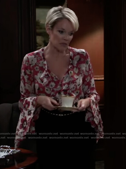Ava's red floral ruffle blouse on General Hospital