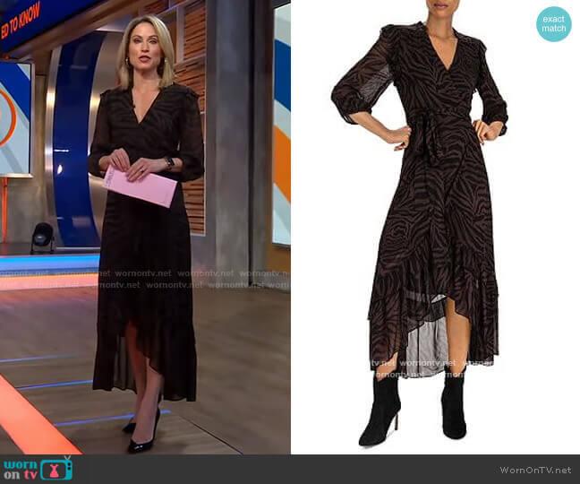 Selena Zebra-Stripe Wrap Dress by Ba&Sh worn by Amy Robach  on Good Morning America